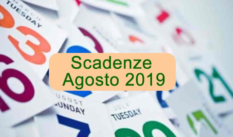 scadenze fiscali agosto 2019