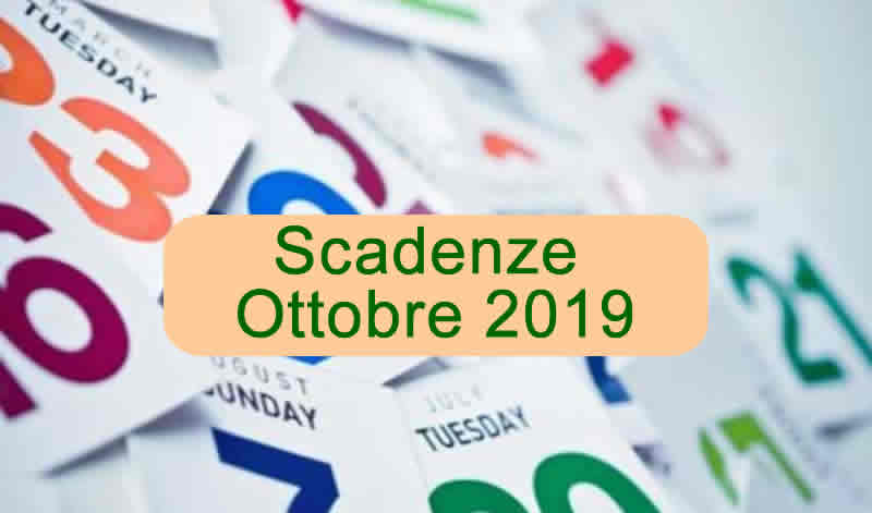 Scadenze Fiscali relative al mese di Ottobre 2019
