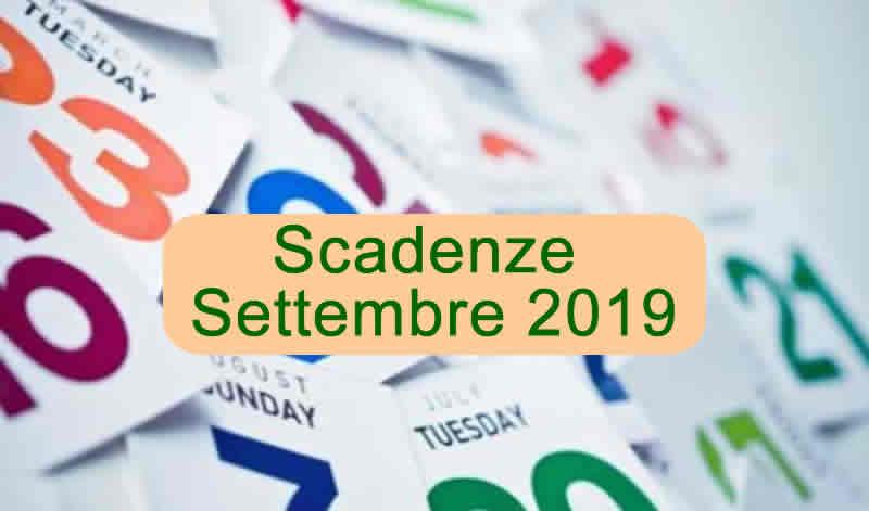 Scadenze Fiscali Settembre 2019